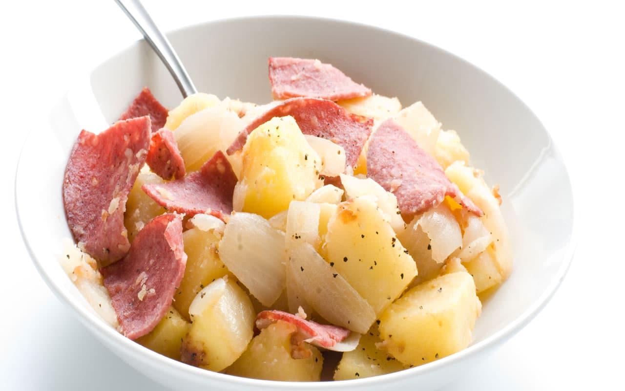 Antipasto di patate Selenella e prosciutto stagionato - Ricette Selenella