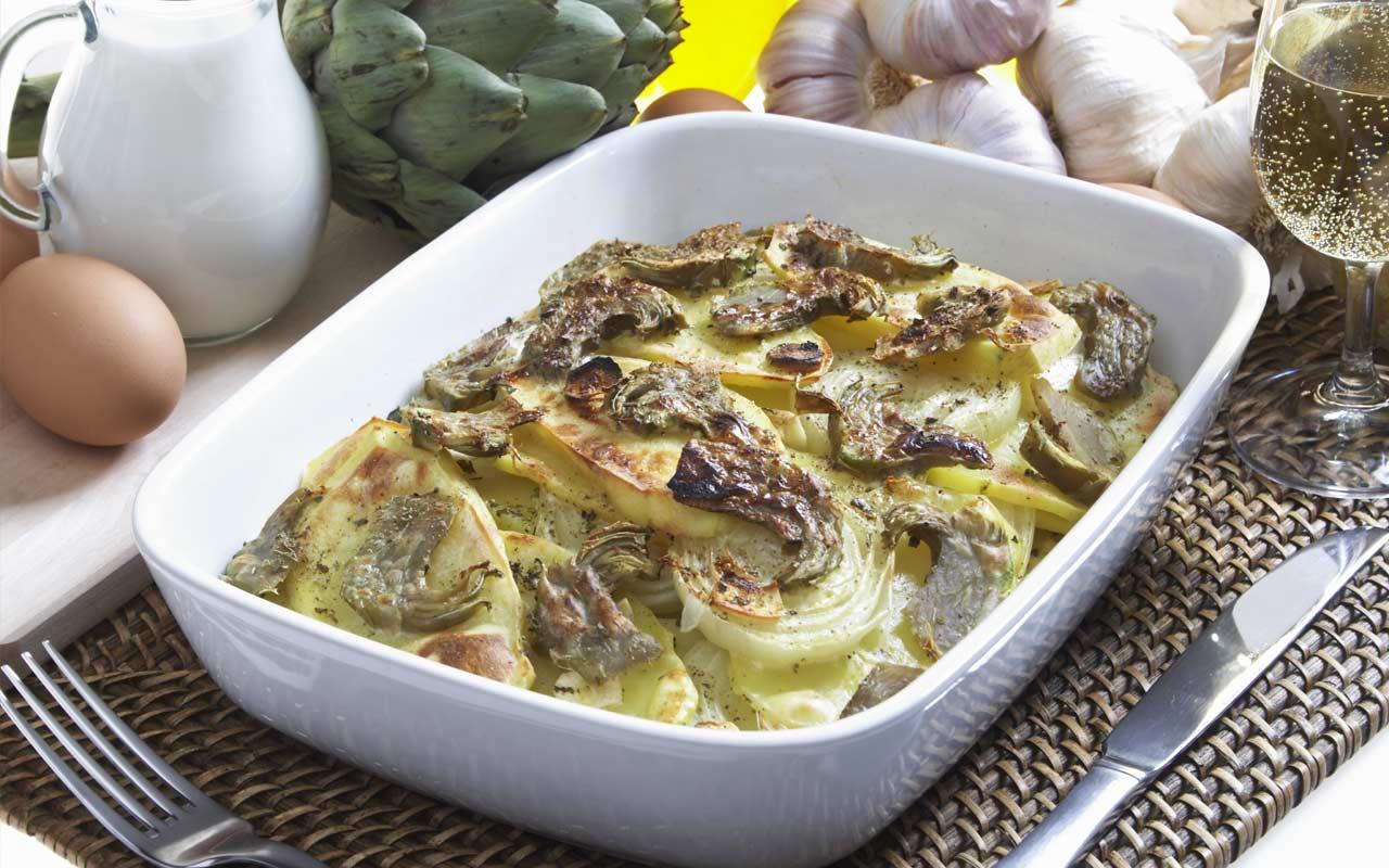 Carciofi e patate al forno - Ricette Selenella