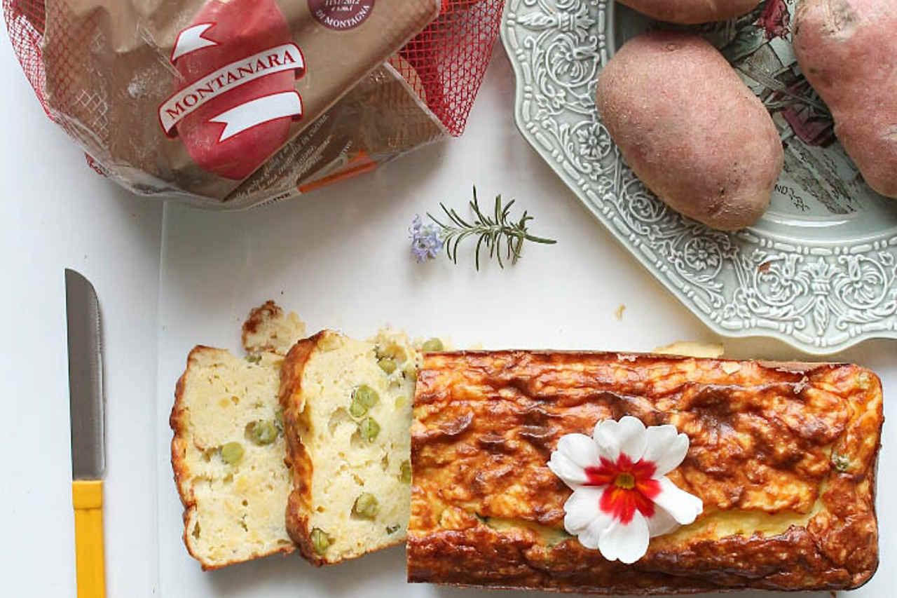 Plumcake di patate, piselli e squacquerone di Irene Bombarda - Ricette Selenella