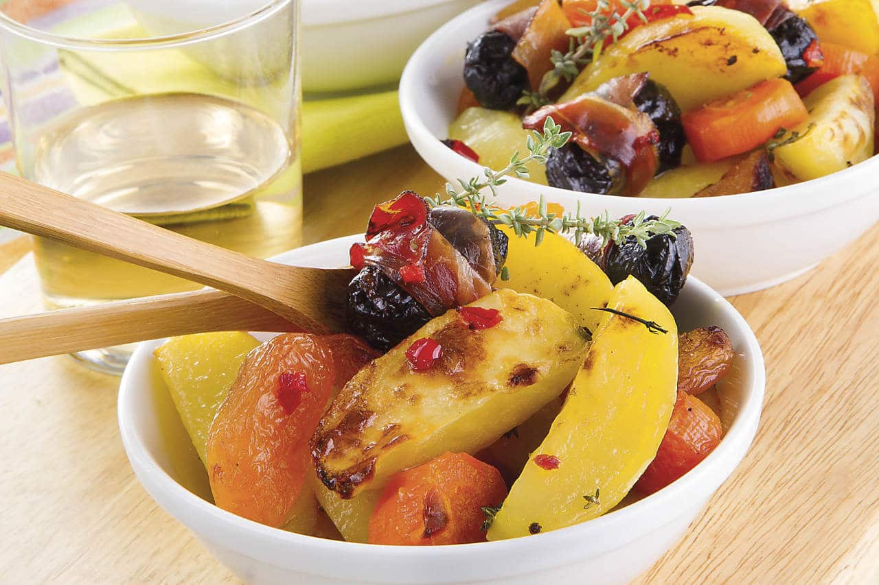 Patate arrosto con prugne e albicocche - Ricette Selenella