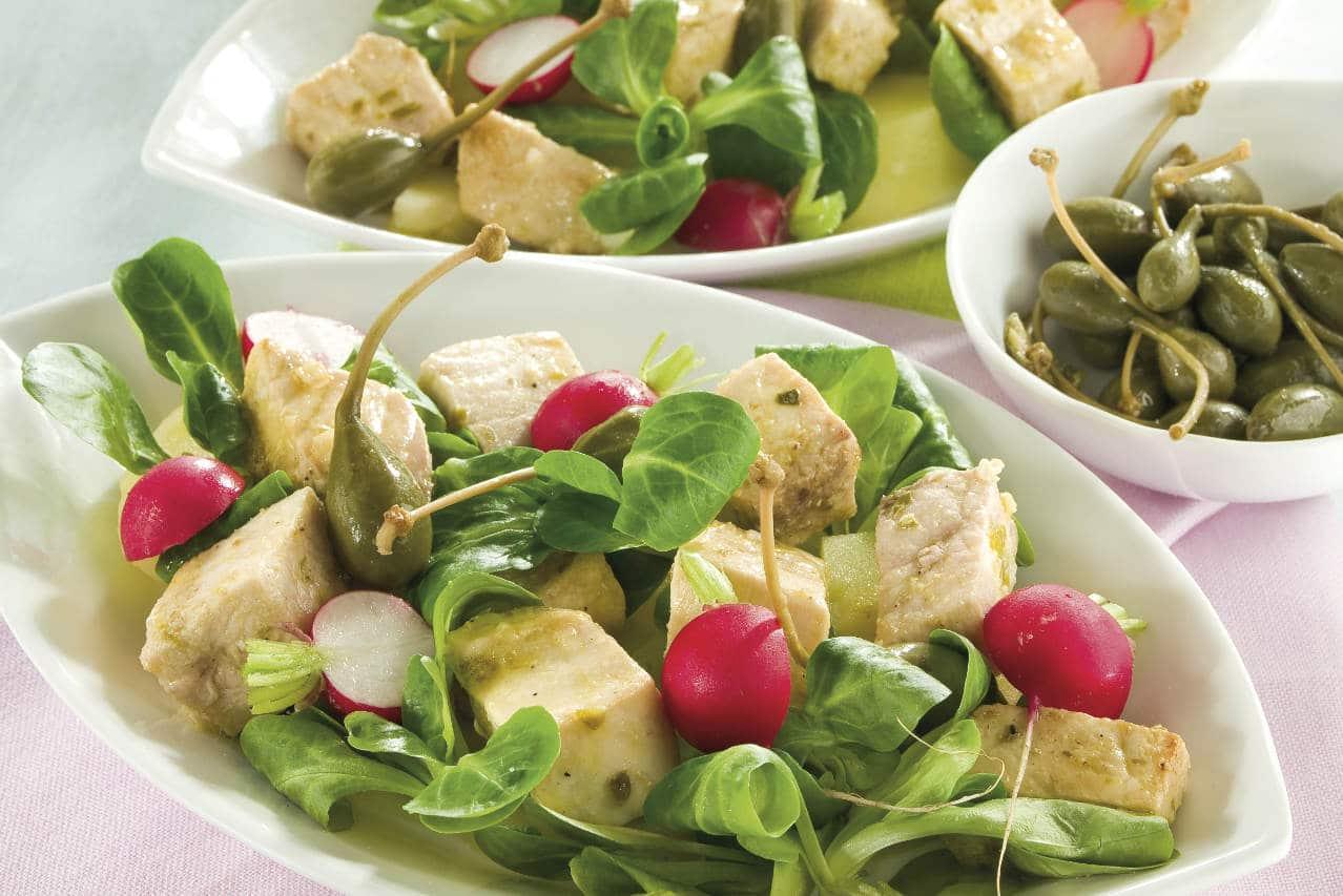 Spada a bocconcini con valeriana, patate e ravanelli - Ricette Selenella